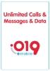 תמונה של 019 שיחות והודעות ללא הגבלה + 150GB גלישה