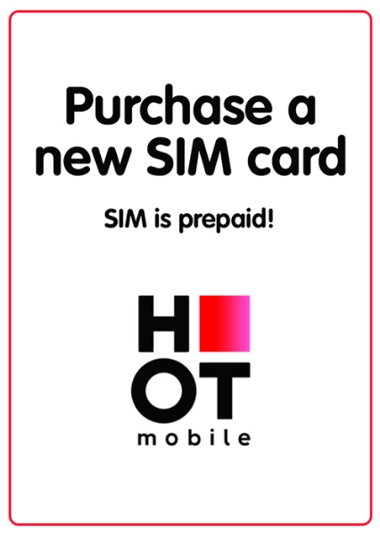 """Picture of Purchase new prepaid """"Hot Mobile"""" local SIM card starting at"""